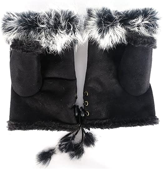 BLACK SUEDE AND FUR FINGERLESS GLOVES ONE SIZE