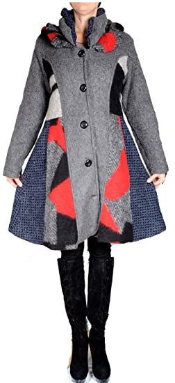 Damen Wolle Lagenlook Patchwork Wintermantel Mantel Swinger