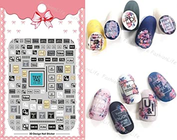 Nail Art 3d Decal Stickers Letters Nail Sticker Tattoo Fashionlife