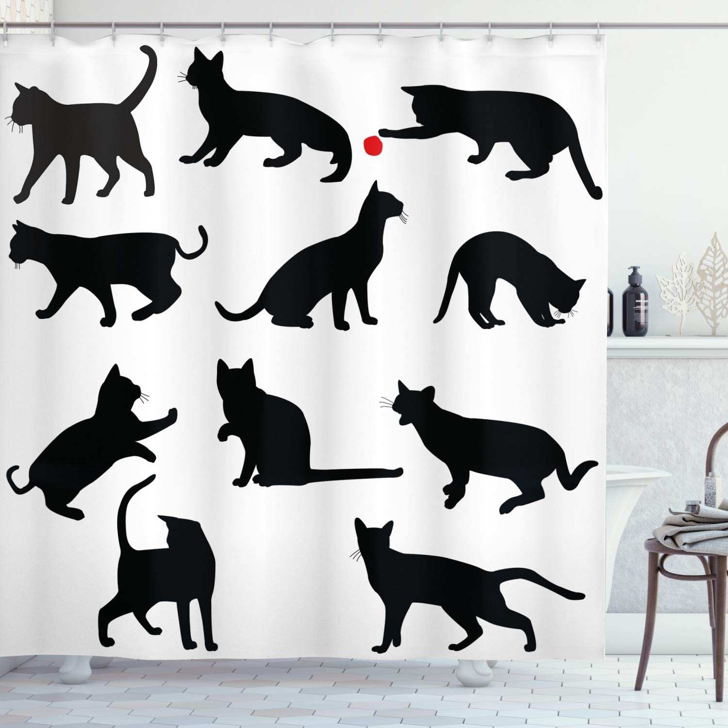 Ambesonne Cat Shower Curtain, Silhouette of Kittens in Various Postures Playing Red Ball Animal Pet Paw Print, Cloth Fabric Bathroom Decor Set with Hooks, 70