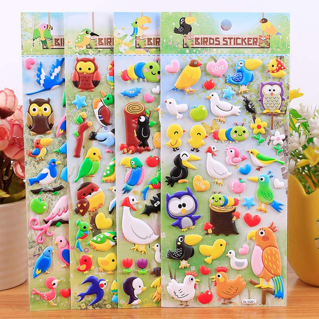 HighMount Happy Bird Stickers 4 Sheets with Woodpecker Seagull Faces Kid Stickers Deacals for Craft Scrapbooking Party Favors Crow 180 Stickers Cuckoo Peacock Swallow Owl Flamingo