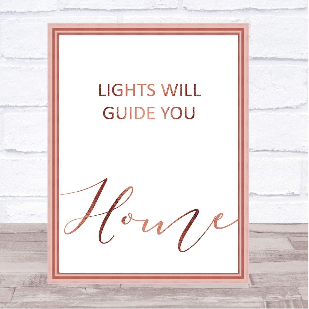 Rose Gold Lights Will Guide You Home Song Lyric Art Music Quote Gift Poster Print