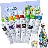 HApplee Gouache 涂料套装 适合艺术家设计师初学者绘画 24 支装 x 12 毫升(0.41 液体盎司) 多种颜色 Glass Paint HL5741