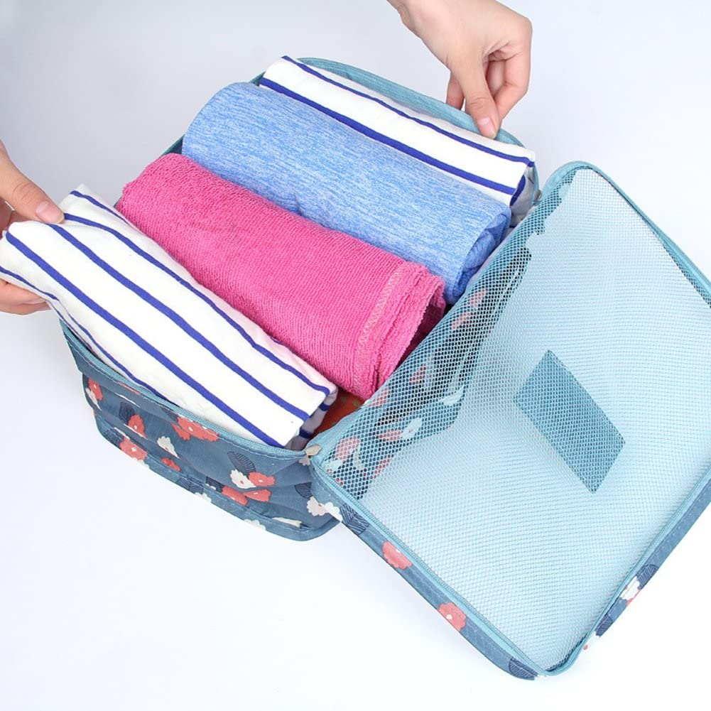 ekqw015l 6Pcs Waterproof Clothes Packing Luggage Travel Storage Case Bag Organizer Pouch F