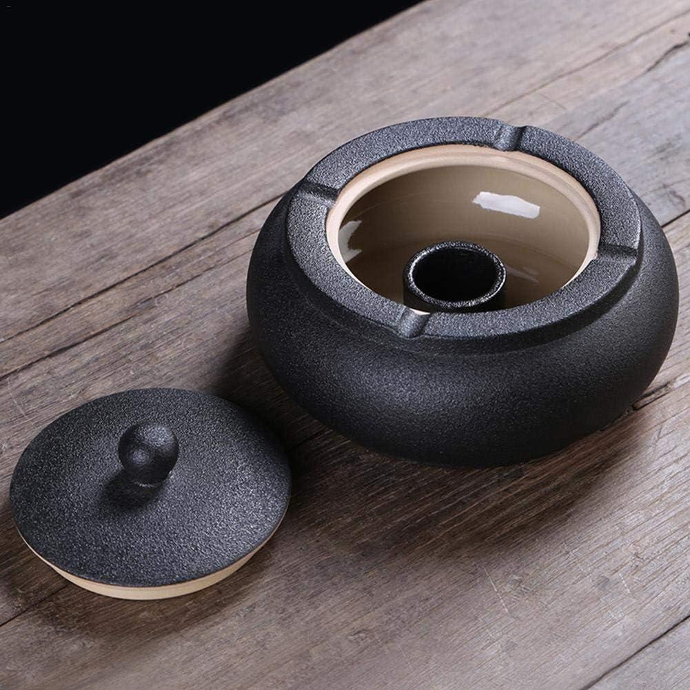 Noire Grand Cendrier Cendrier En Poterie D/écoration Vintage Cendrier En C/éramique Avec Couvercle Pour Salon Chambre Bureaus