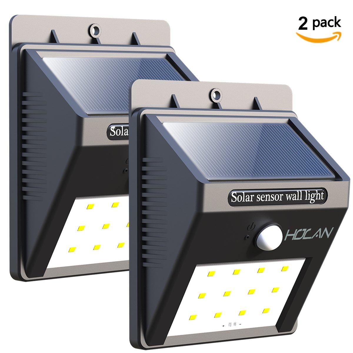 Holan 12色 LED人感センサー付ソーラーライト4点セット 防水仕様 壁/中庭/玄関/階段/フェンス/デッキ/私道用ライト B01MY0HG58 4 Pack  4 Pack
