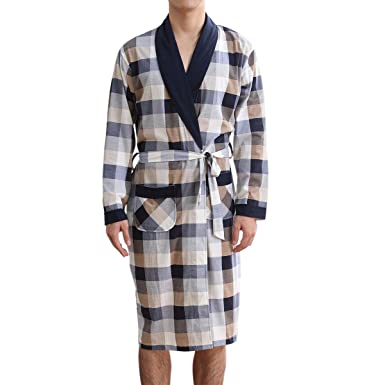 Suejoe Mens Cotton Dressing Gown Long Sleeve Belted Check