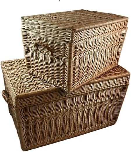 weeco - Juego de dos cestas de mimbre (80 cm y 60 cm, con tapa ...
