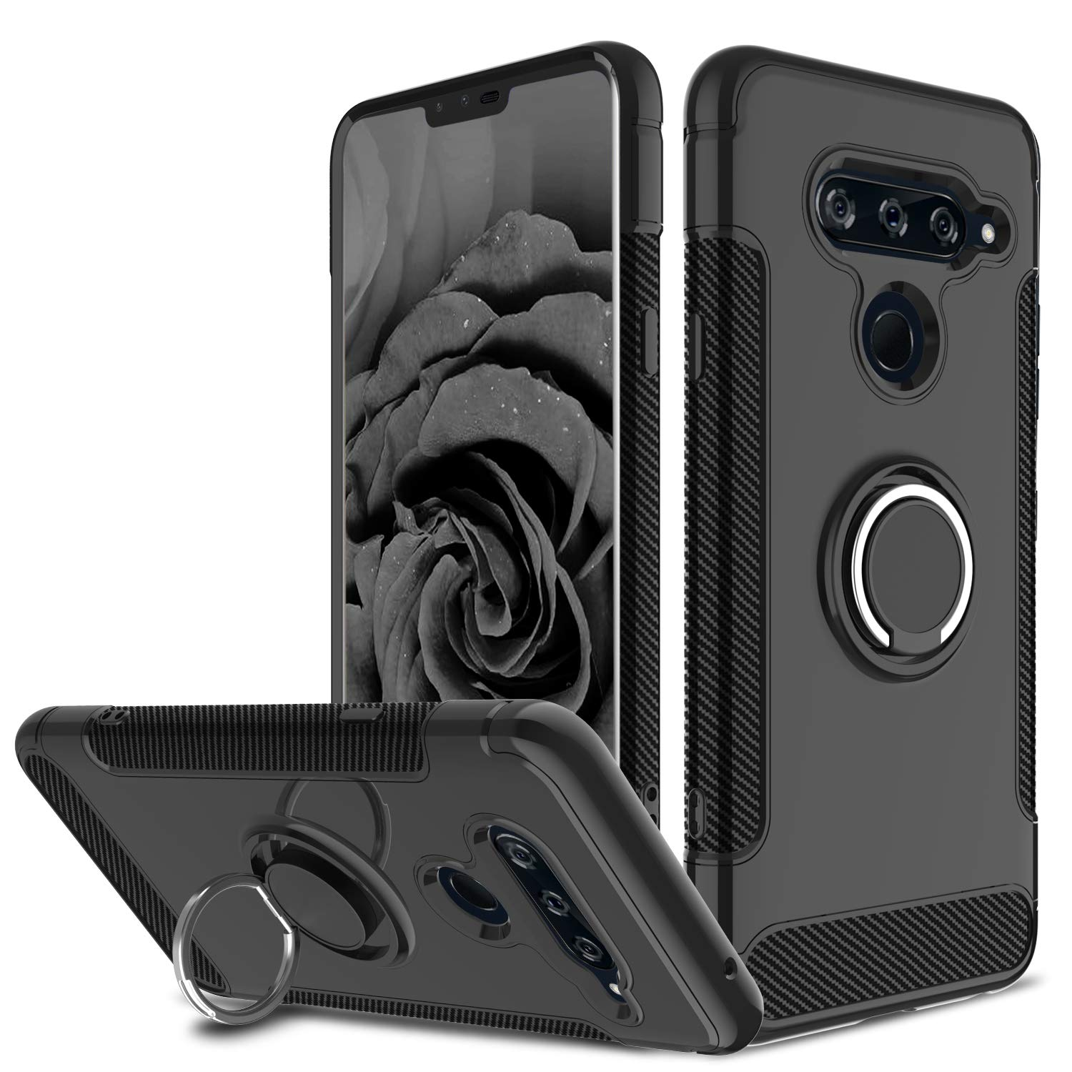 LG V40 ThinQ Case, LG V40 Case, DONWELL 360 Degree Rotating Ring Holder with Kickstand Protective Phone Cases Cover Compatible LG V40 ThinQ 2018, Black