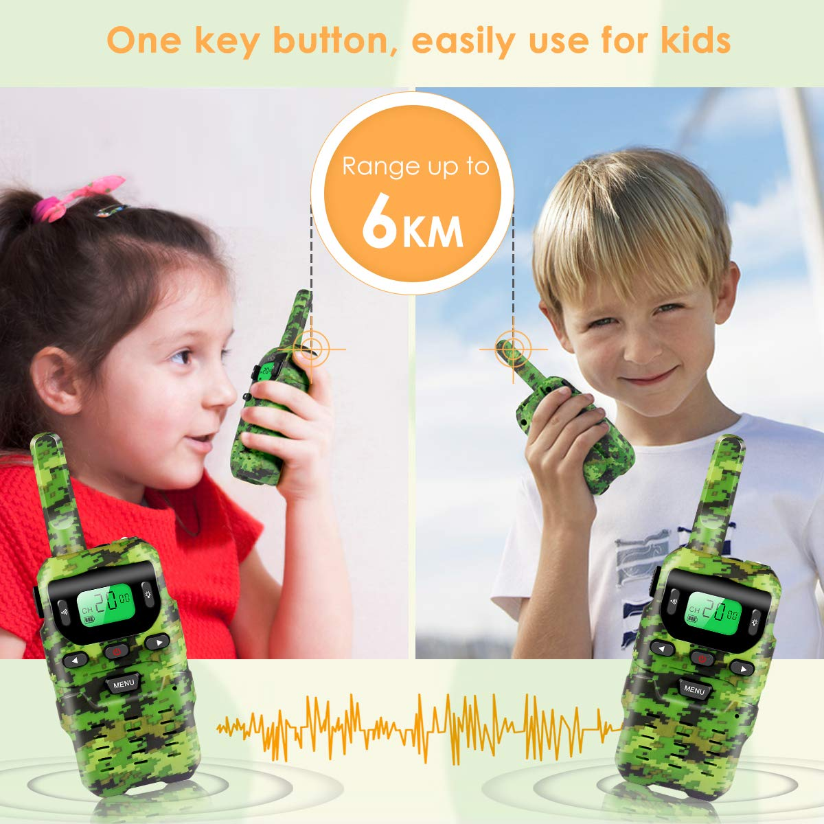 UOKOO Walkie Talkies for Kids, Toys for 3-12 Year Old Boys 22 Channel 3 Mile Long Range Kids Toys and Kids Walkie Talkies, and Top Toys for for 3 4 5 6 7 8 9 Year Old Boy and Girls by UOKOO (Image #3)