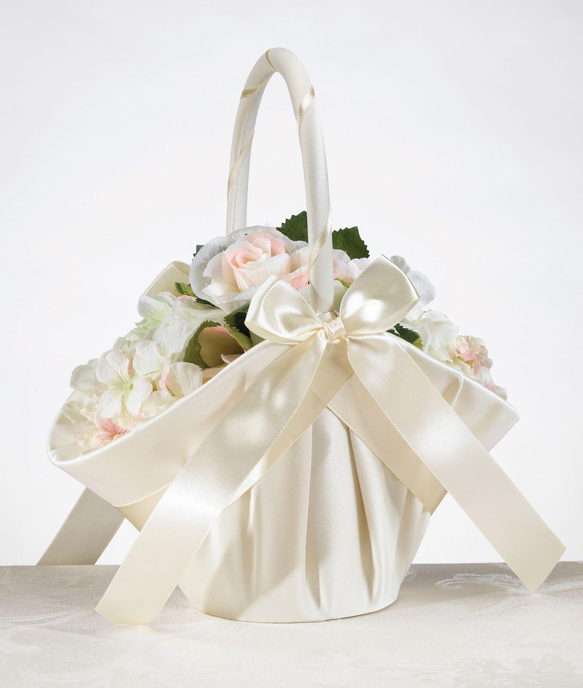 Ivory Satin Tall Wedding Flower Girl Basket