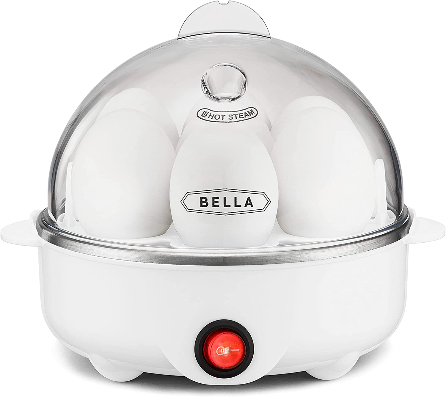 BELLA 17284 Cooker, Rapid Boiler, Poacher Maker Make up to 7 Large Boiled Eggs, Poaching and Omelete Tray included, Single Stack, White