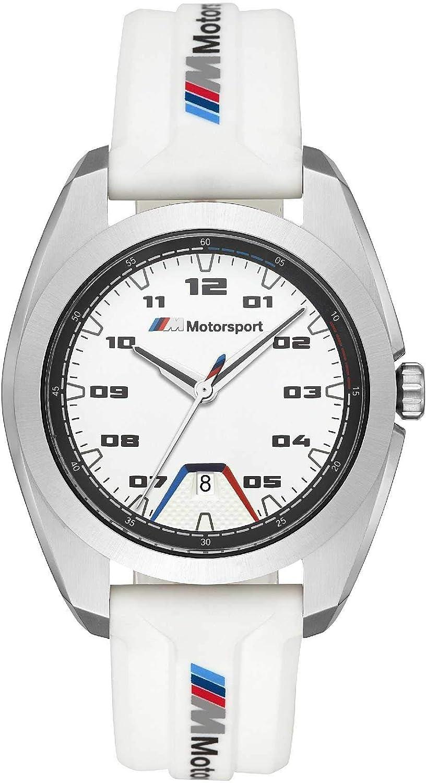 BMW - Reloj Deportivo Motorsport para Hombre con Correa de Silicona Blanca y Caja de Acero Inoxidable Plateado - BMW1000