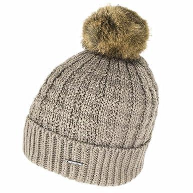 Barts Filippa Beanie Hat with Faux Fur Bobble - Taupe  Amazon.co.uk ... 8ea20186ef44