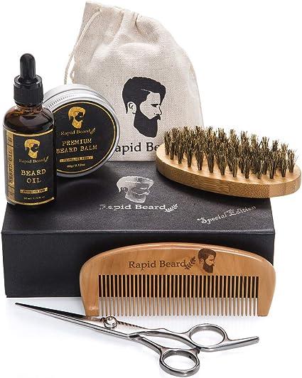 Kit Barba Cuidado para Hombre – Cepillo Barba De Cerdas Naturales ...