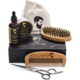 Beard Grooming & Trimming Kit for Men Care - Beard Brush, Beard Comb, Unscented Beard Oil Leave-in Conditioner, Mustache & Be