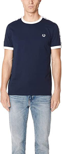 TALLA S. Fred Perry Taped Ringer Camiseta para Hombre