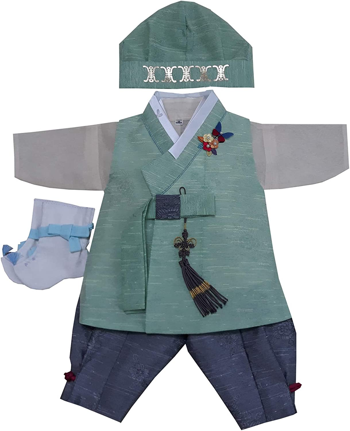 8 Day Birth Korea Baby Boy Hanbok Traditional Dress Outfits Celebration  Party Green Set