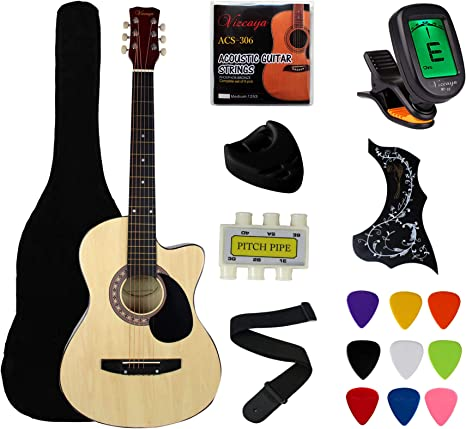 """YMC 38"""" Cutaway Natural Beginner Acoustic Guitar Starter Package Student Guitar with Gig Bag,Strap, 3 thickness 9 picks,2 Pickguards,Pick Holder, Extra Strings, Electronic Tuner -Natural Cutaway"""