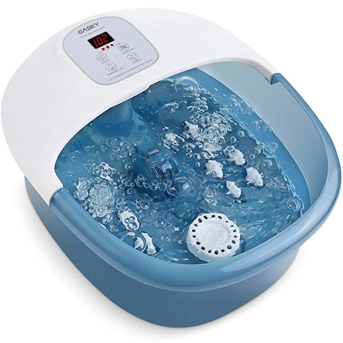 Foot Spa Bath Massager with Heat Bubbles Vibration, 14 Shiatsu Massaging Rollers to Relieve Feet Muscle Pain, Adjustable Temperature Pedicure Tub for Home Office Use