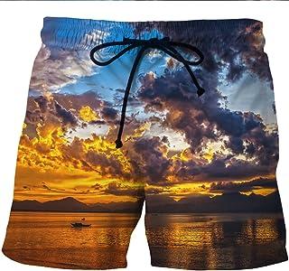 Sinedoly Men's Beach Shorts Quick-Drying Nuage 3D Fleur Couleur Lounge Deux Poches Latérales sont Bordées