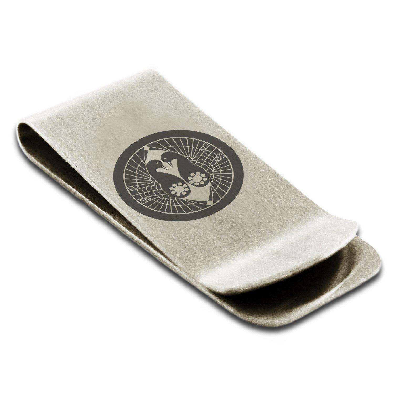 Stainless Steel Nanbu Samurai Crest Engraved Money Clip Credit Card Holder