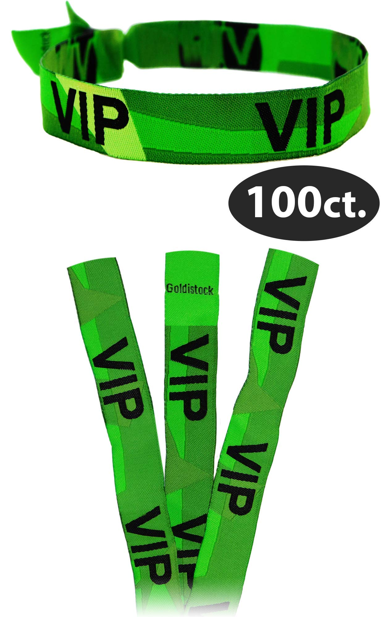 Green VIP 3/4'' Wristbands from Goldistock - Strong Woven Cloth Armbands - Security with Style Arm Bands - for Upscale Events - Upgrade from Tyvek Wrist Bands - 100 Count by Goldistock