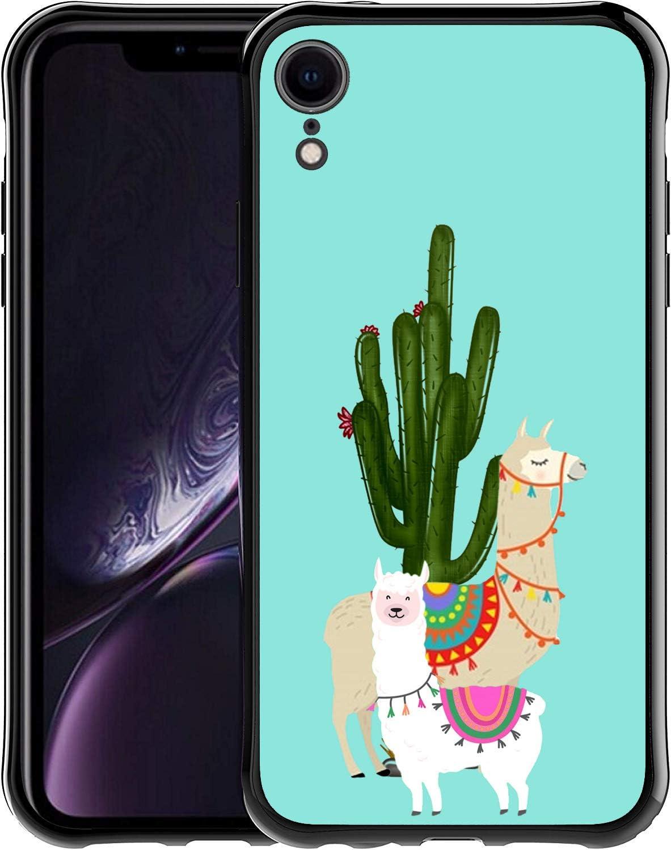 Saicase Soft TPU Case for iPhone XR - Llama and Cactus Bumper Case Back Cover