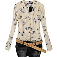 Pretty Show Women's Long Sleeve Brid Print Chiffon Fashion Slim Blouses TShirt