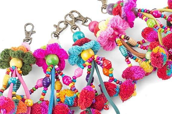Amazon.com: Pretty Flower Llavero pompones de algodón borlas ...