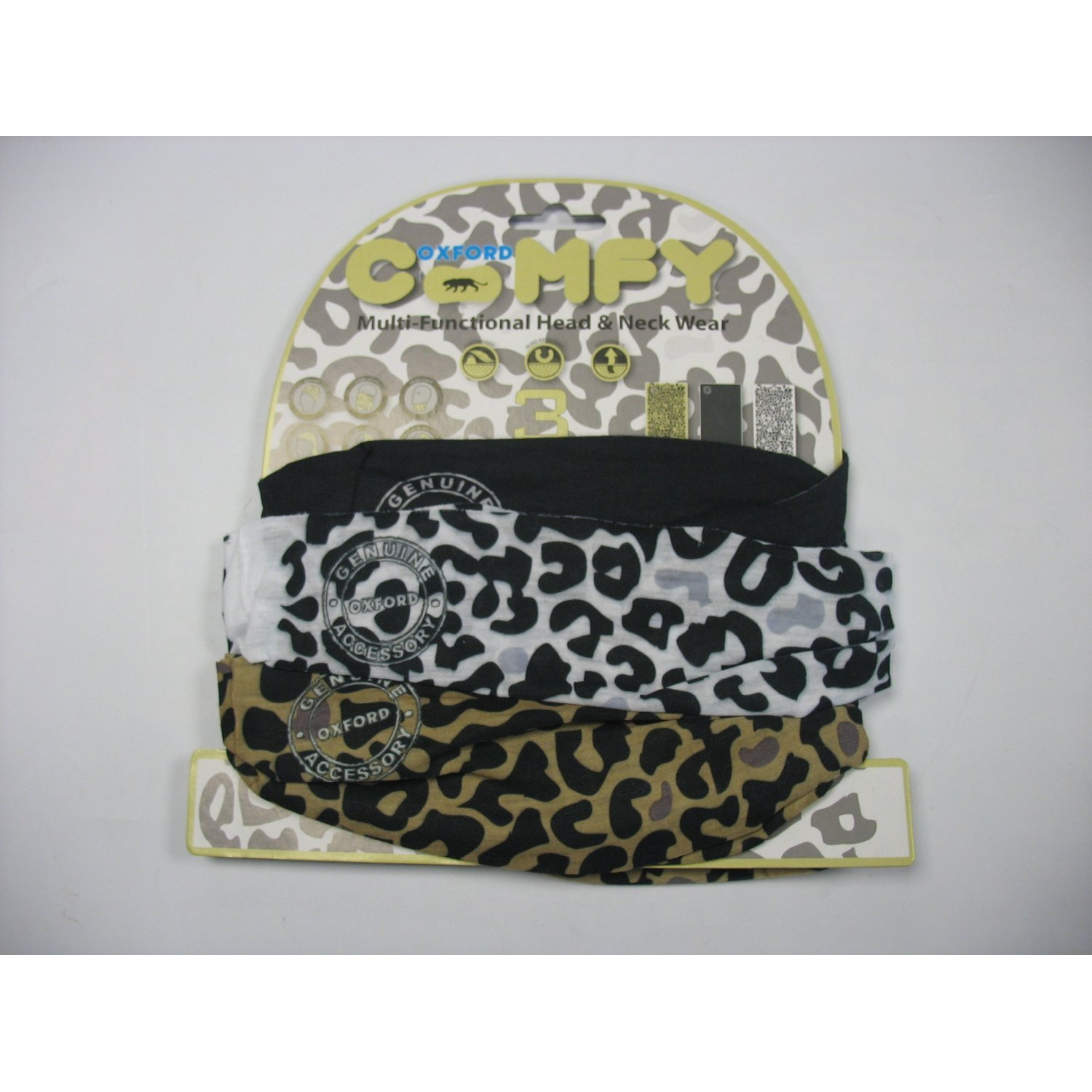 Oxford Comfy Head Helmet Scarf Neck Warmer Base Layers Leopard Design 3 Pack