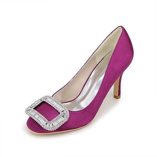 e3b4cb79db Chenxia Zapatos de Mujer Tacón de Aguja Pointed Toe Bombas Tacones Boda  Fiesta y Noche Azul Rojo Blanco Plata Púrpura