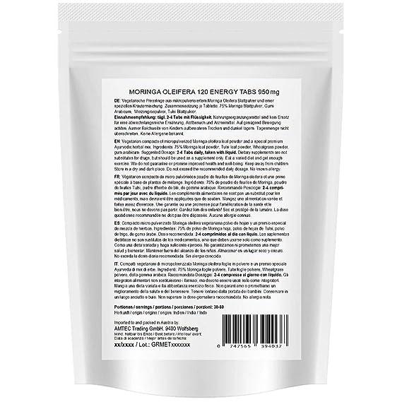 Moringa Energia Tabs 950mg o Moringa cápsulas 600mg - Oleifera, vegetariano, Producto de calidad de MoriVeda (120 tabs)