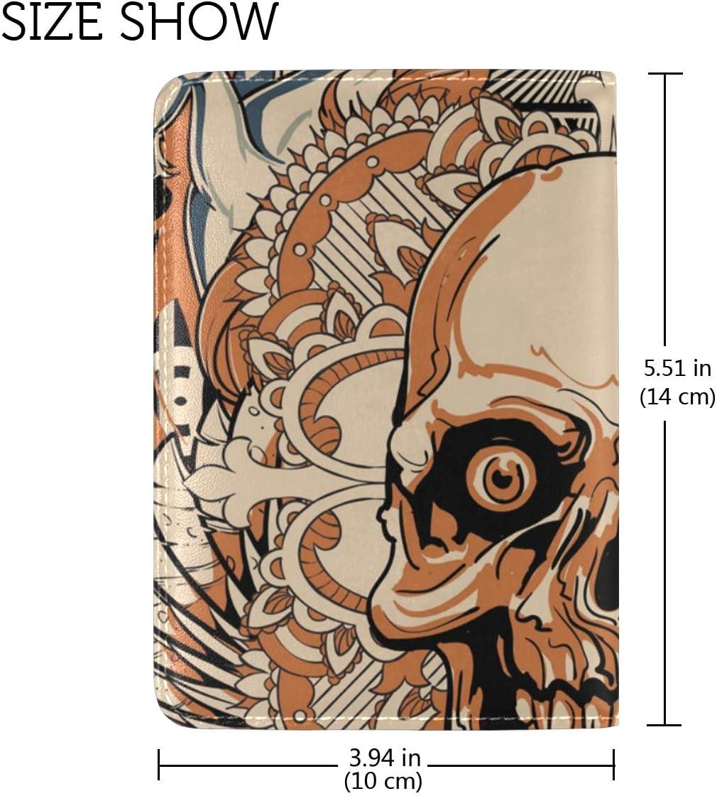LEISISI Unicorn Skull Genuine Real Leather Passport Holder Cover Travel Case