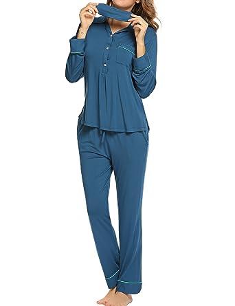 1235a67d2d Ekouaer Women s Comfort Pajamas Sleepwear Long Sleeve Pj Set with Eyeshade  S-XXL