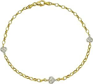 14k Gold-Bonded Sterling Silver Oval with Filigree Heart Anklet