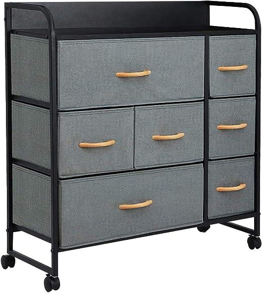 KINGSO 7 Drawer Dresser Storage Tower Organizer Unit