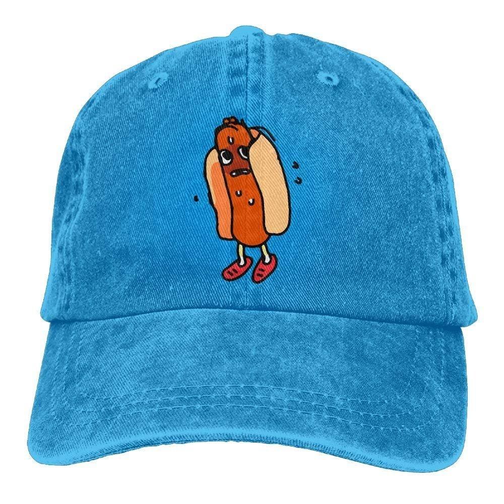 JTRVW Cowboy Hats 2018 Adult Fashion Cotton Denim Baseball Cap Cute Hot Dog Classic Dad Hat Adjustable Plain Cap