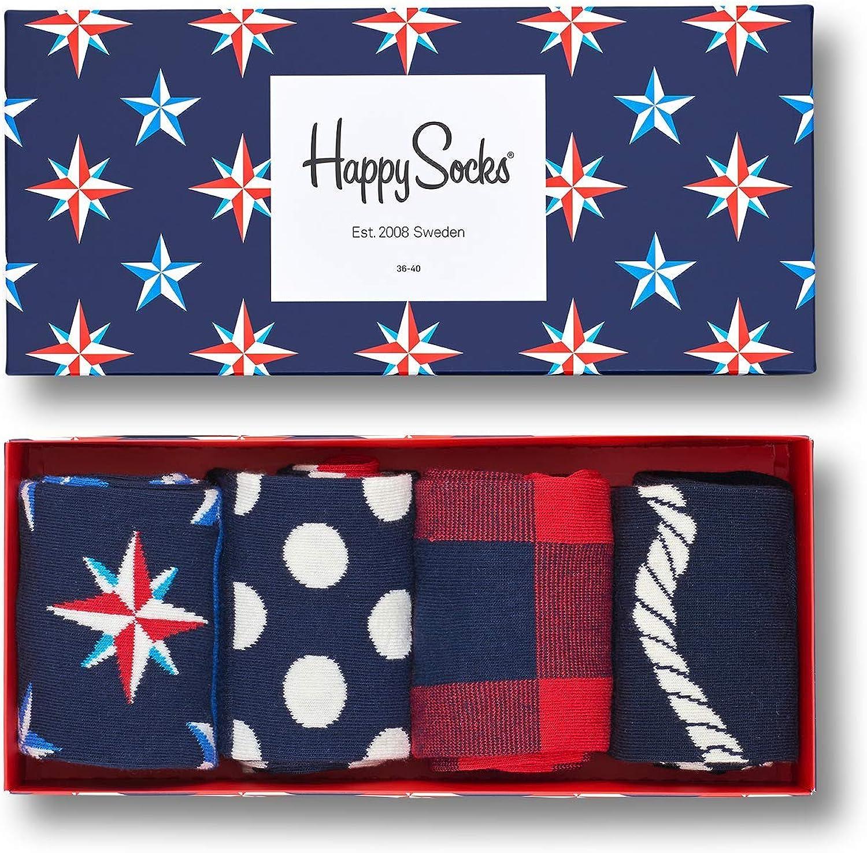 Happy Socks Calcetines de Hombre Náutico Caja de Regalo, 4 Paquete ...
