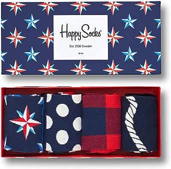 Happy Socks Calcetines de Hombre Náutico Caja de Regalo, 4 Paquete - Azul (Azul Marino 6000), Talla Única (Tamaño de Fabricantes: 36-40)