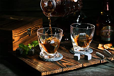 Whiskey Glasses Gift Set 8 Whiskey Stones 2 Twist Whiskey Glasses 2 Slate Drink Coaster for Whiskys, Scotch, Bourbons and Spirits, Father s Day Gift, Birthday Christmas Present for Men Women