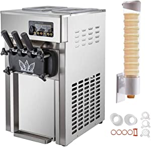 VBENLEM Commercial Soft Serve Ice Cream Maker 18L 4.7 Gallon Per Hour Countertop Stainless Steel Ice Cream Machine With 3 Flavors Perfect for Restaurants Snack Bar supermarkets