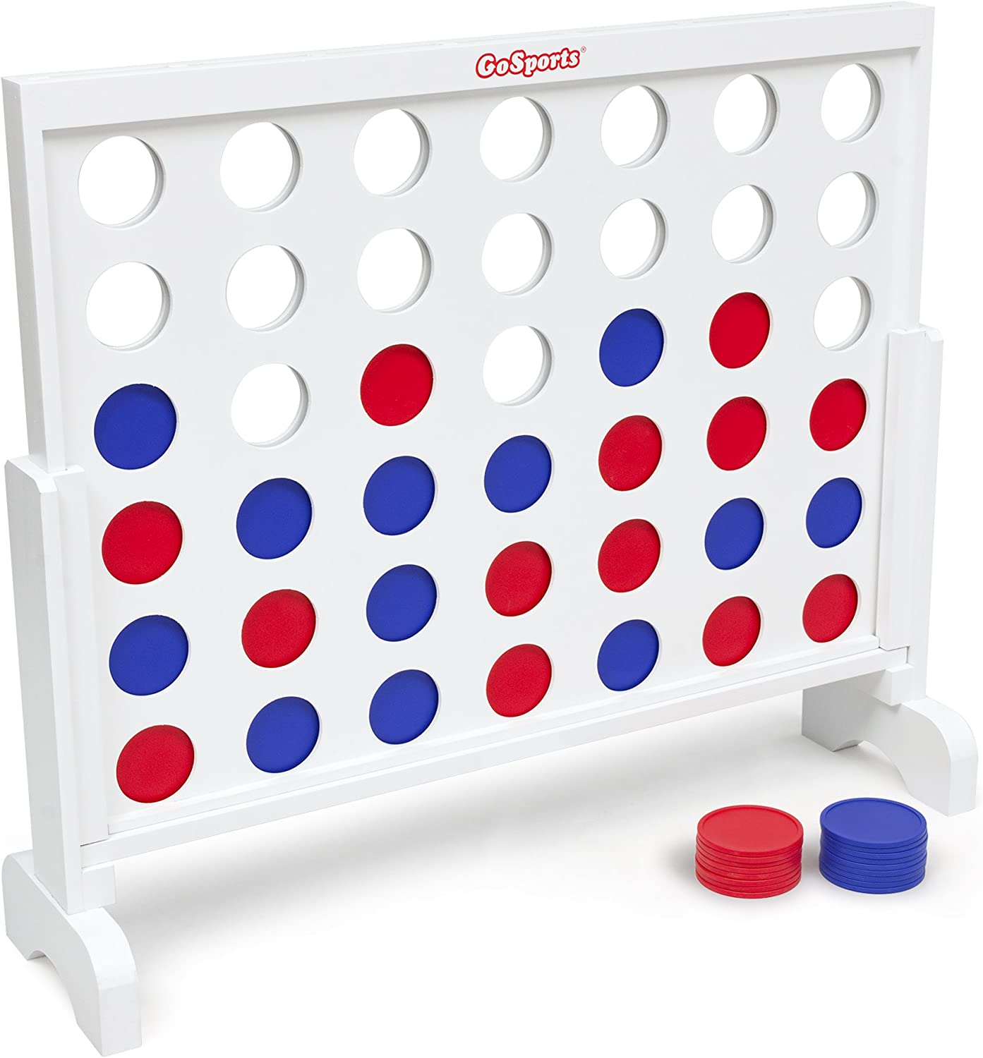 Jumbo 4 Connect Family Fun with Coins Choose Between Classic White or Dark Stain GoSports Giant Wooden 4 in a Row Game 3 Foot Width Case and Rules