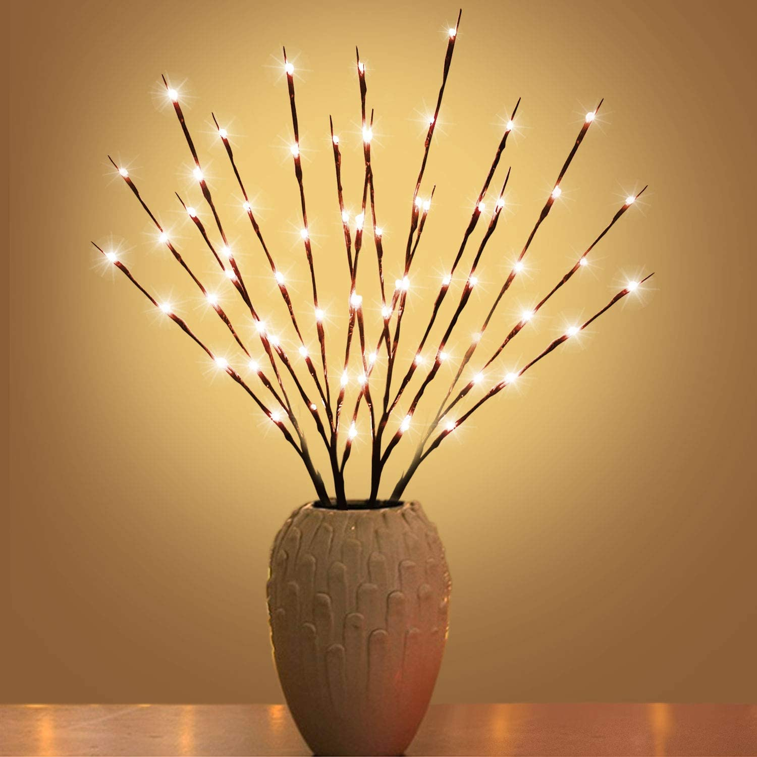 XIANMU Led Branch Light Battery Operated Lighted Branches Vase Filler Willow Twig Lighted Branch 30 Inch 20 LED for Christmas Home Party Decoration Indoor Outdoor Use Pack of 2 Warm White