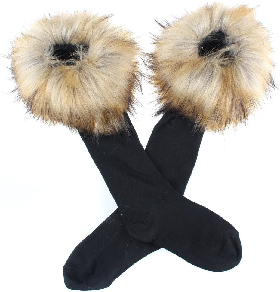 Ecosco Faux Fur Wrist Cuffs Warmer Cover Furry Leg Warmer Socks Assorted