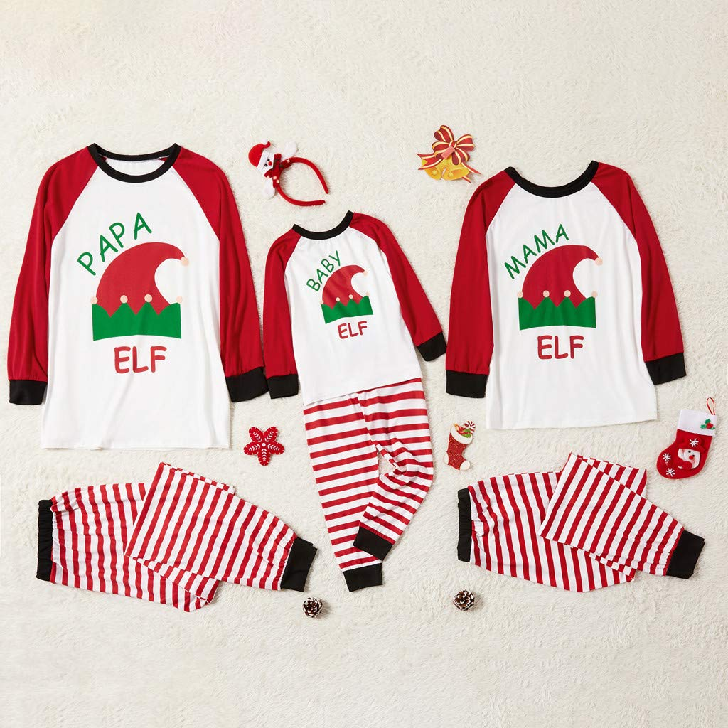 Christmas Family Matching Pajamas Set Papa Mama Baby Xmas Elf Blouse Stripe Pants Parent-Child Match Sleepwear PJ Sets by Franterd