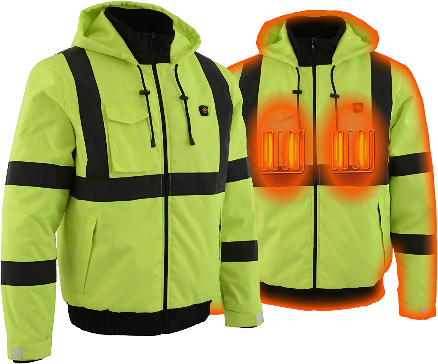 Milwaukee Leather High Viz Men's Textile Jacket W/Heating Elements - Battery Included (NEON GREEN, LG)