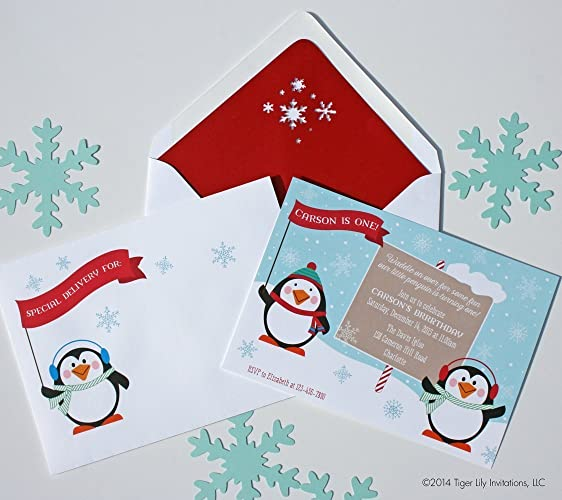 amazon com penguin birthday invitations onederland birthday