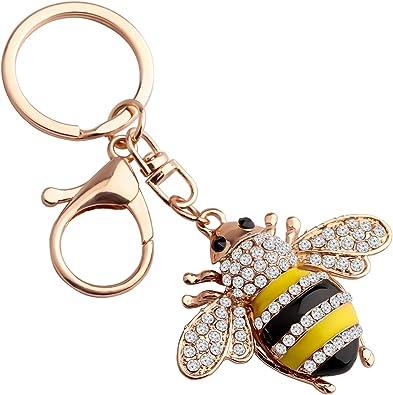 bumble bee enamel charm keyring