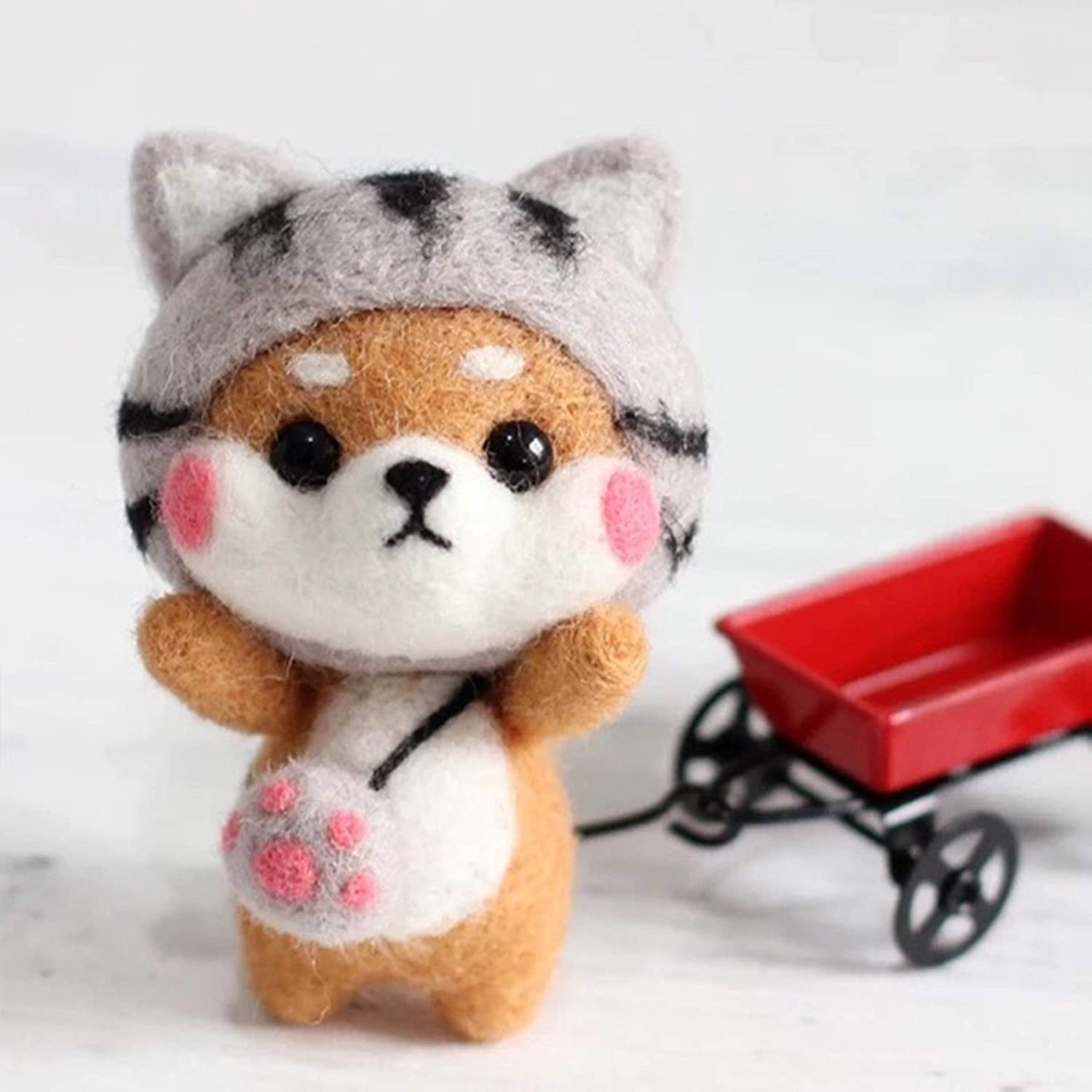 Cool Beans Boutique Wool Felting DIY Kit with Tools - Great Starter kit Shiba Inu Dog with Grey Kitty Hat with English Instructions